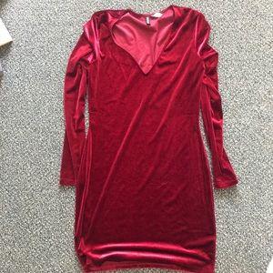 Crushed red velvet dress